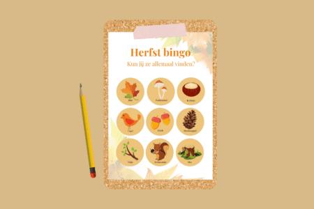 Herfst bingokaart: gratis speurtocht in het bos