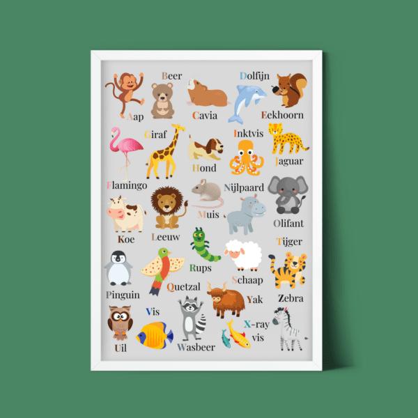Gratis kinderkamer poster dierenalfabet