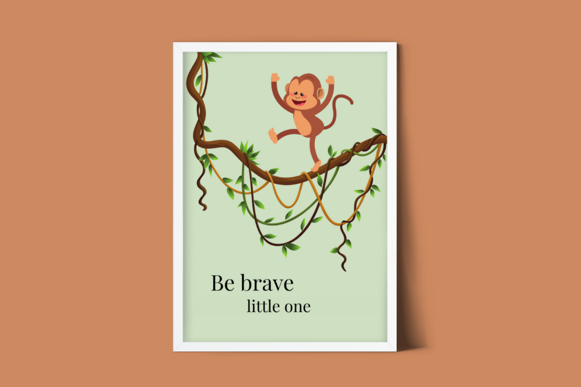Jungle aap kinderkamer poster