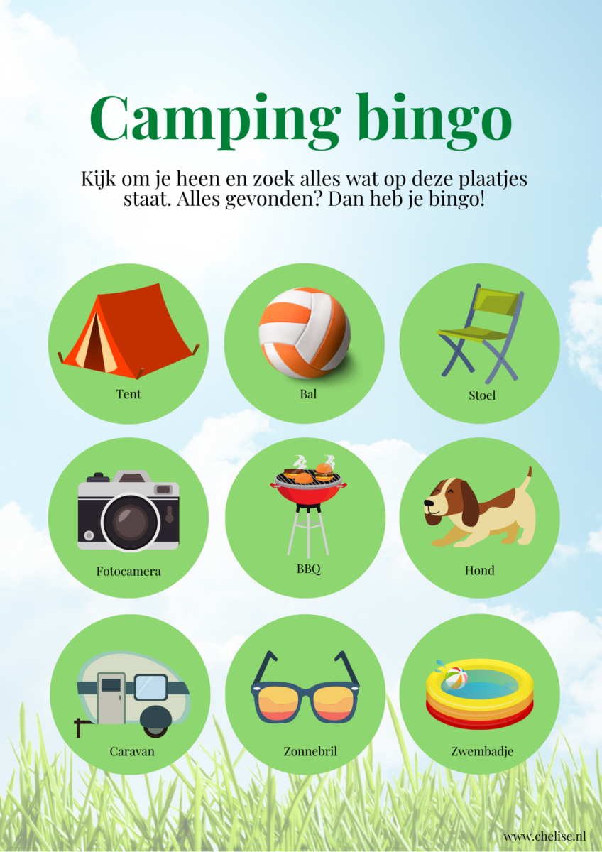 Camping bingokaart