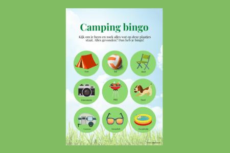 Camping bingokaart: gratis speurtocht op de camping