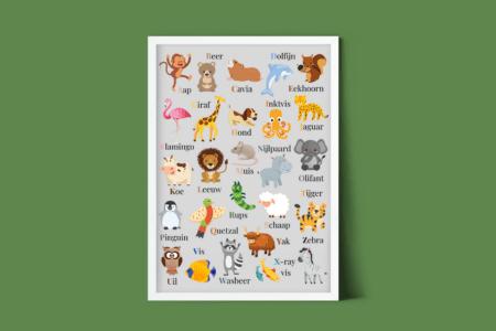 Dierenalfabet poster - gratis kinderkamer poster