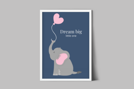 Gratis kinderkamer poster dream big little one